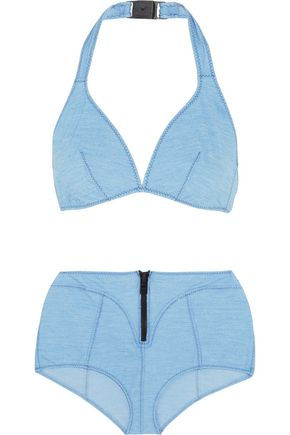 LISA MARIE FERNANDEZ Davina stretch-denim halterneck bikini