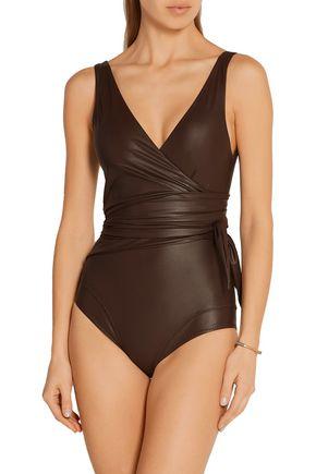 LISA MARIE FERNANDEZ Dree Louise glossed wrap swimsuit