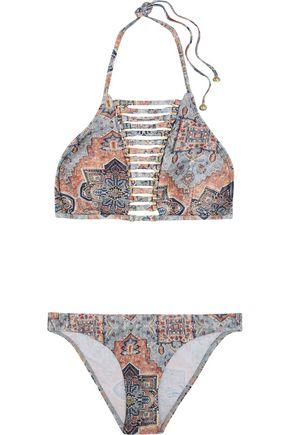 ZIMMERMANN Harlequin embellished printed halterneck bikini