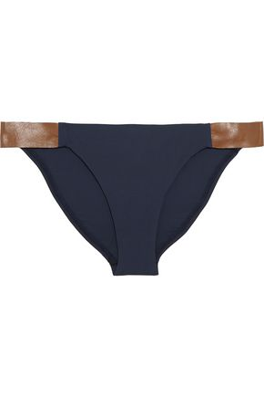 VIX PAULAHERMANNY Leather-trimmed bikini briefs