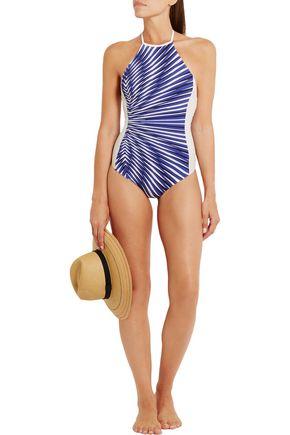 LA PERLA Op-Art printed halterneck swimsuit