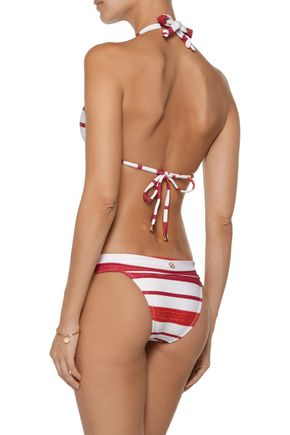 VIX Bia chain-embellished striped triangle bikini top