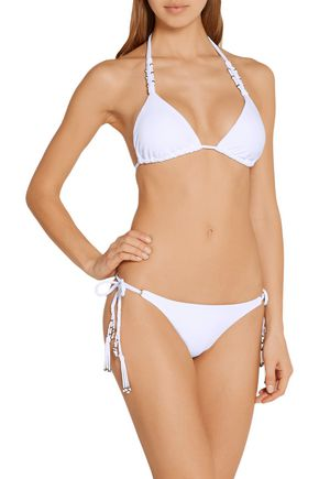 VIX PAULAHERMANNY Embellished macramé-trimmed triangle bikini top