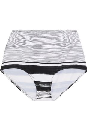 NORMA KAMALI High-rise striped bikini briefs