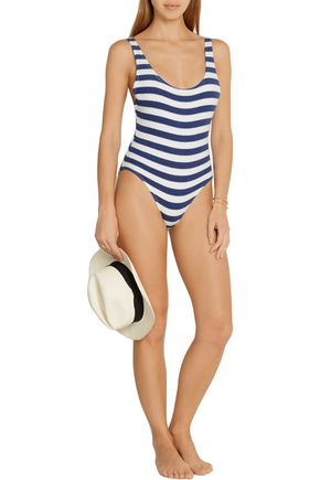 SOLID & STRIPED The Anne-Marie striped stretch-terry swimsuit