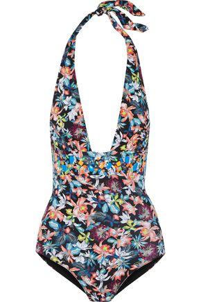 HEIDI KLUM SWIM Embellished printed halterneck swimsuit