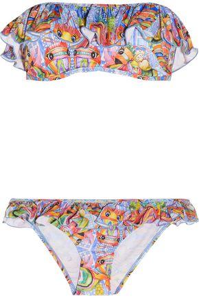 STELLA JEAN Ruffle-trimmed printed bandeau bikini
