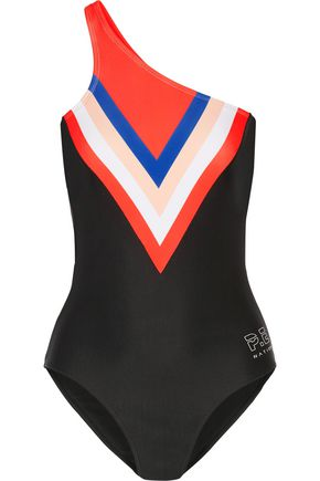P.E NATION Triple Play one-shoulder color-block swimsuit