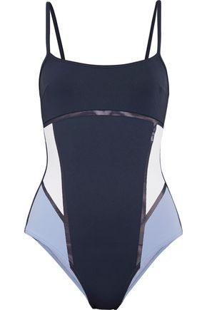 LA PERLA Kosmos two-tone mesh-trimmed stretch swimsuit