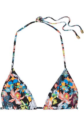 HEIDI KLUM SWIM Embellished printed triangle bikini top