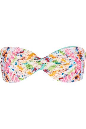 MARA HOFFMAN Printed gathered bikini top