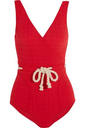 LISA MARIE FERNANDEZ Yasmin rope-detailed seersucker swimsuit