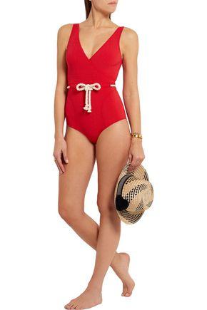 LISA MARIE FERNANDEZ Yasmin rope-detailed seersucker swimsuit