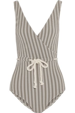 LISA MARIE FERNANDEZ Yasmin wrap-effect checked seersucker swimsuit
