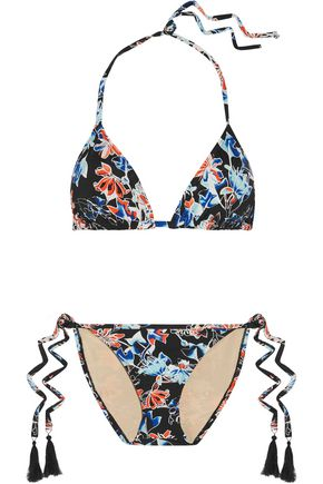 TART COLLECTIONS Iris tasseled printed triangle bikini