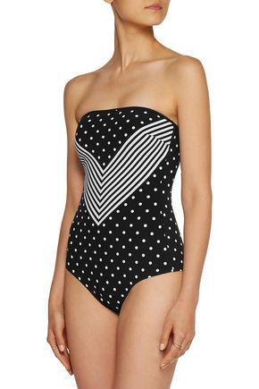STELLA McCARTNEY Cutout printed bandeau swimsuit