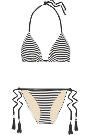 TART Iris tasseled striped triangle bikini
