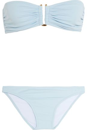 IRIS AND INK Ruched bandeau bikini