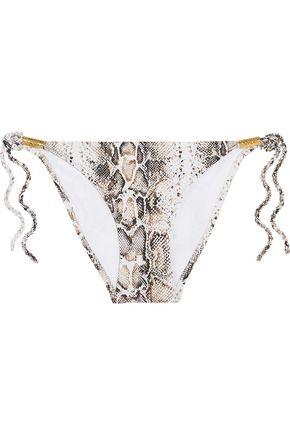 HEIDI KLEIN Embellished snake-print bikini bottoms