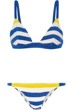 SOLID & STRIPED The Morgan striped stretch-terry triangle bikini