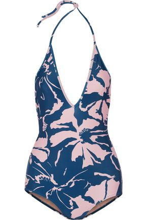 ADRIANA DEGREAS Balinese printed halterneck swimsuit