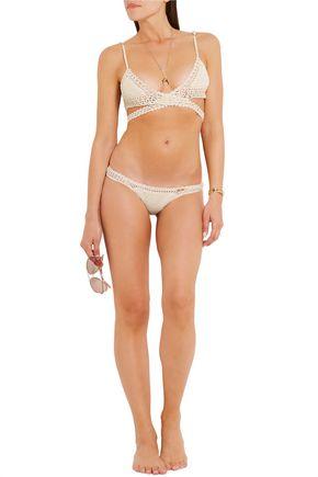 SHE MADE ME Crocheted cotton triangle bikini