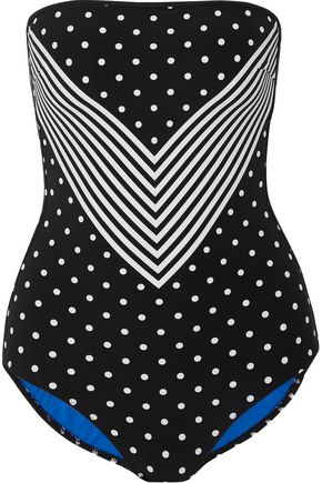 STELLA McCARTNEY Cutout printed bandeau swimsuit
