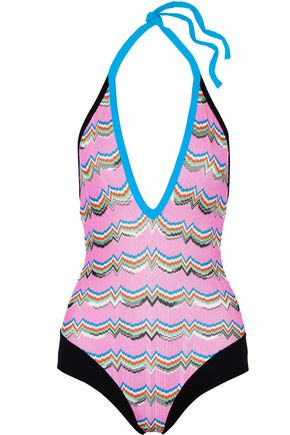 MISSONI Stretch jersey-trimmed crochet-knit halterneck swimsuit