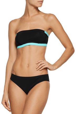 T by ALEXANDER WANG Two-tone bonded bandeau bikini top