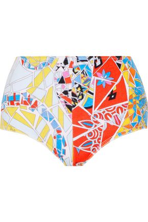 EMILIO PUCCI Printed cotton-blend terry bikini briefs