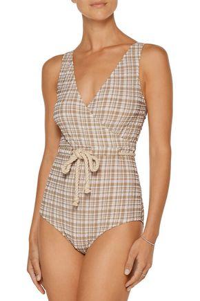LISA MARIE FERNANDEZ Yasmin wrap-effect checked seersucker swimsuit