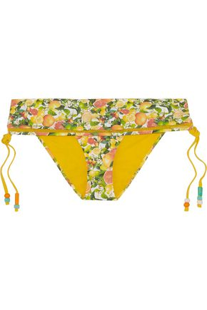 STELLA McCARTNEY Mid-rise mesh-trimmed printed bikini briefs