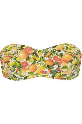 STELLA McCARTNEY Mesh-trimmed printed bandeau bikini