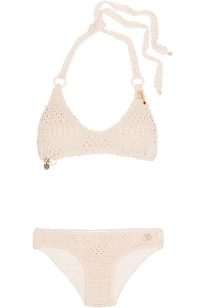 STELLA McCARTNEY Metallic crocheted halterneck bikini