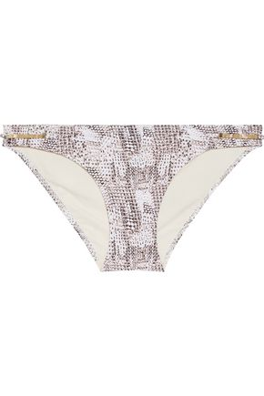 HEIDI KLUM SWIM Sun Dappled Decadence low-rise embellished snake-print bikini briefs