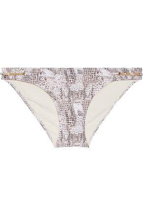 HEIDI KLUM SWIM Sun Dappled Decadence low-rise embellished snake-print bikini briefs