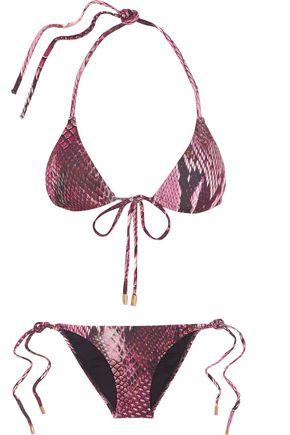 MELISSA ODABASH Metallic printed triangle bikini