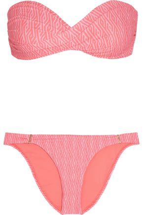 MELISSA ODABASH Martinique twist-front printed bandeau bikini