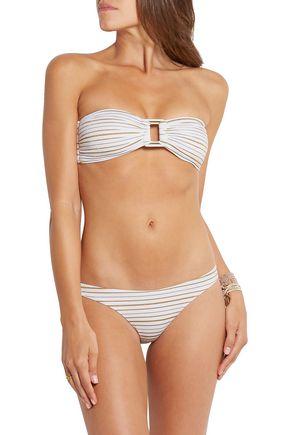 MELISSA ODABASH Angola metallic striped bandeau bikini