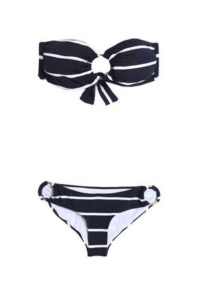 MELISSA ODABASH Evita metallic striped bandeau bikini