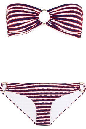 7c9e0d12b3 MELISSA ODABASH Evita striped bandeau bikini ...