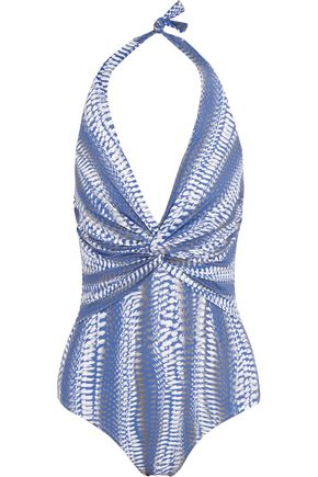 MELISSA ODABASH Zanzibar printed halterneck swimsuit