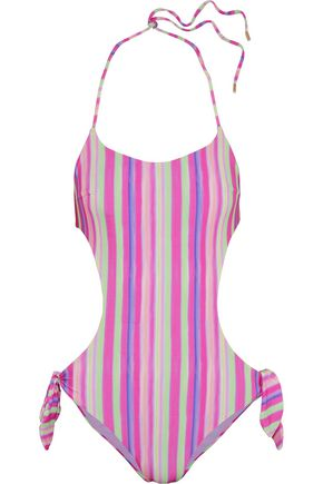 MATTHEW WILLIAMSON Cutout striped halterneck swimsuit
