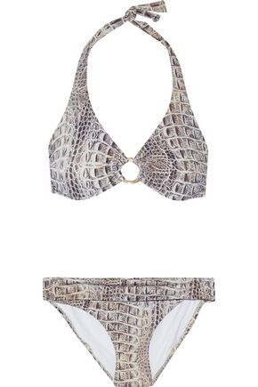 MELISSA ODABASH Brussels snake-print underwired halterneck bikini