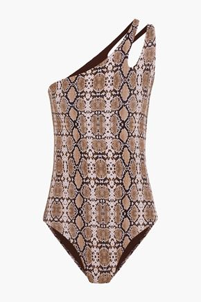 MELISSA ODABASH Jamaica one-shoulder snake-print swimsuit
