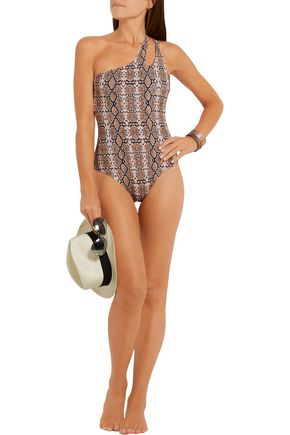 MELISSA ODABASH Jamaica one-shoulder snake-print swimsuit