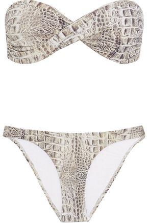 MELISSA ODABASH Martinique twist-front snake-print bandeau bikini