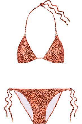 MELISSA ODABASH Portugal metallic printed triangle bikini