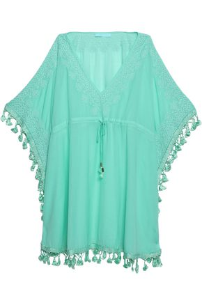 MELISSA ODABASH Tasseled embroidered kaftan