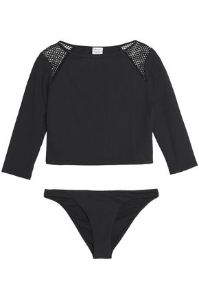 MELISSA ODABASH Tarifa mesh-paneled bikini